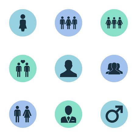 Ilustración vectorial Conjunto de iconos de pareja simple. Elementos masculino, doble, par de sinónimos candidato, abogado y divorcio. Foto de archivo - 75716329