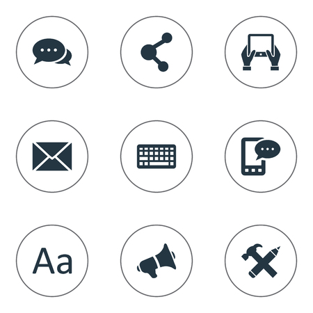 Vector Illustration Set Of Simple User Icons. Elements Repair, Post, Cedilla And Other Synonyms Pencil, Post And Notepad. Ilustrace
