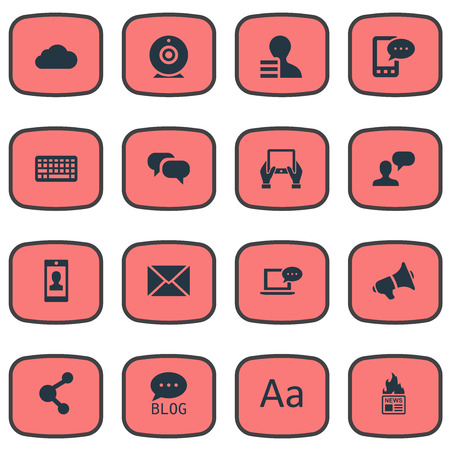 Vector Illustration Set Of Simple Blogging Icons. Elements Gazette, E-Letter, Gain And Other Synonyms Blog, Speech And Gossip. Çizim