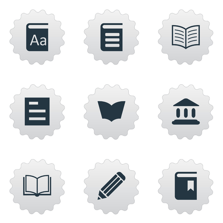 Vector Illustration Set Of Simple Education Icons. Elements Reading, Alphabet, Blank Notebook And Other Synonyms Academy, Textbook And Book. Illustration