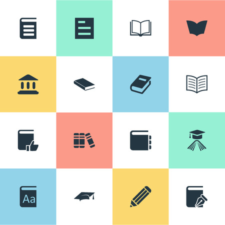 Vector Illustration Set Of Simple Knowledge Icons. Elements Encyclopedia, Sketchbook, Book Page And Other Synonyms Academy, School And Note.
