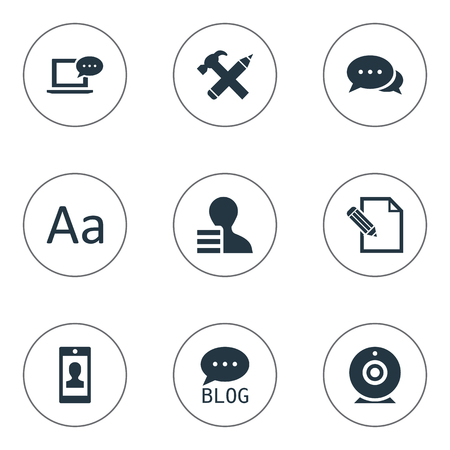 Vector Illustration Set Of Simple Newspaper Icons. Elements Site, Broadcast, Cedilla And Other Synonyms Pen, Man And Discussion.