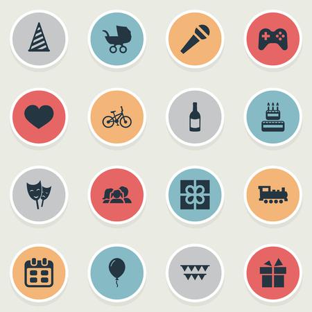 Illustration vectorielle Set d'icônes d'anniversaire simple. Elements Decorations ;, Ruban, Jours et autres synonymes Jouer, Steam et Ruban Banque d'images - 75871103