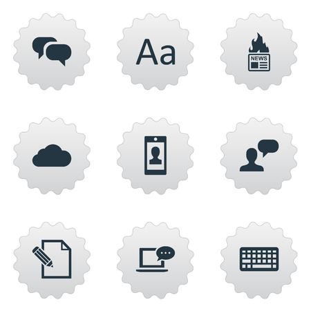 burning paper: Vector Illustration Set Of Simple User Icons. Elements Document, Laptop, Cedilla And Other Synonyms Man, Writing And Laptop.