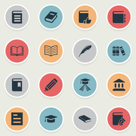 Vector Illustration Set Of Simple Education Icons. Elements Tasklist, Recommended Reading, Journal And Other Synonyms Library, Building And Feather.