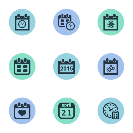 almanac: Vector Illustration Set Of Simple Time Icons. Elements Date, Deadline, Almanac And Other Synonyms Time, History And Snowflake.