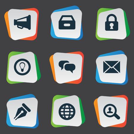 Illustration vectorielle Ensemble d'icônes simples de travail. Elements Bulb, Dossier, Magnifier et autres cadres, cadenas, boîtes et fichiers. Banque d'images - 75871120