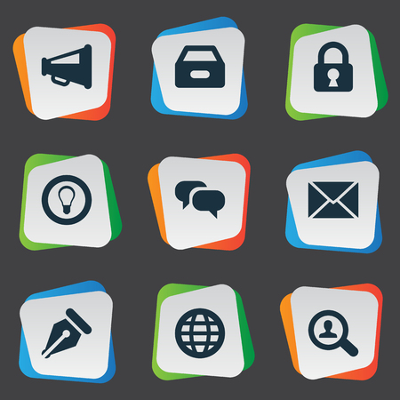 trade secret: Vector Illustration Set Of Simple Job Icons. Elements Bulb, Dossier, Magnifier And Other Synonyms Padlock, Box And Files.