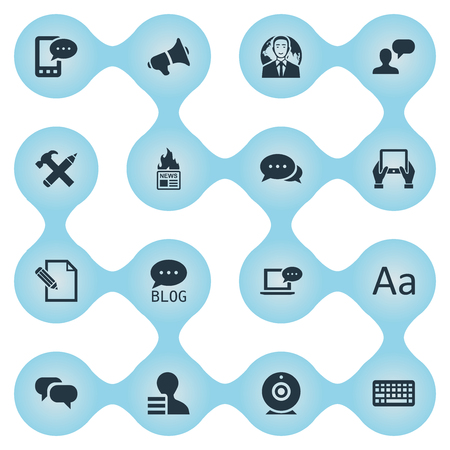 Vector Illustration Set Of Simple Blogging Icons. Elements Document, Broadcast, Laptop And Other Synonyms News, Globe And Site.