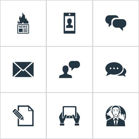 Vectorillustratiereeks Eenvoudige Krantenpictogrammen. Elements Post, Notepad, International Businessman And Other Synoniemen Notepad, Speech And Hot.