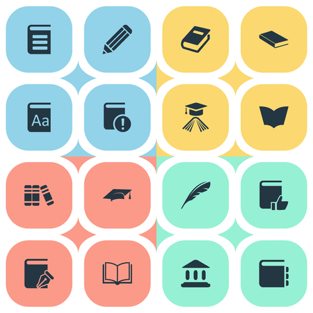 Vector Illustration Set Of Simple Reading Icons. Elements Reading, Academic Cap, Encyclopedia And Other Synonyms Academy, Quill And Plume.