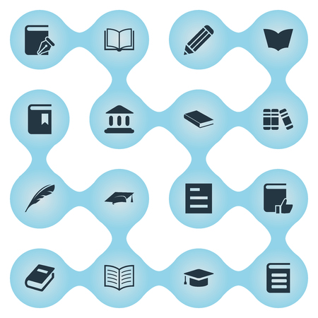Vector Illustration Set Of Simple Education Icons. Elements Book Cover, Academic Cap, Encyclopedia And Other Synonyms Bookmark, Note And Encyclopedia.