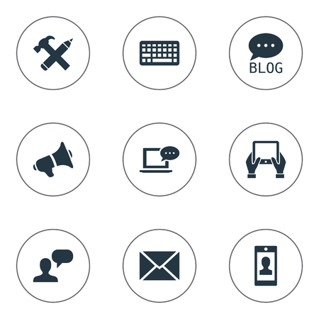Vector Illustration Set Of Simple User Icons. Elements Repair, Loudspeaker, Post And Other Synonyms Notepad, Man And Smartphone.
