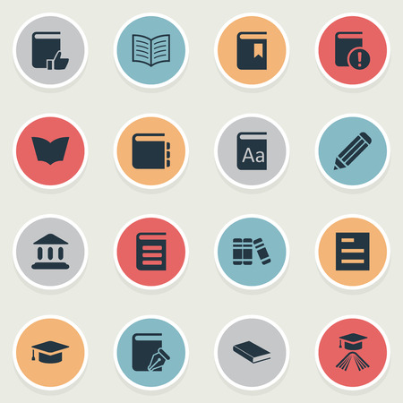 Vector Illustration Set Of Simple Education Icons. Elements Journal, Sketchbook, Encyclopedia And Other Synonyms Catalog, Notepad And Book. Illustration
