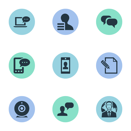favor: Vector Illustration Set Of Simple User Icons. Elements Man Considering, Profile, Broadcast And Other Synonyms Web, Profit And Message.