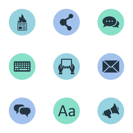 Vector Illustration Set Of Simple User Icons. Elements Argument, Share, Loudspeaker And Other Synonyms Typography, Hand And Alphabet. Illustration