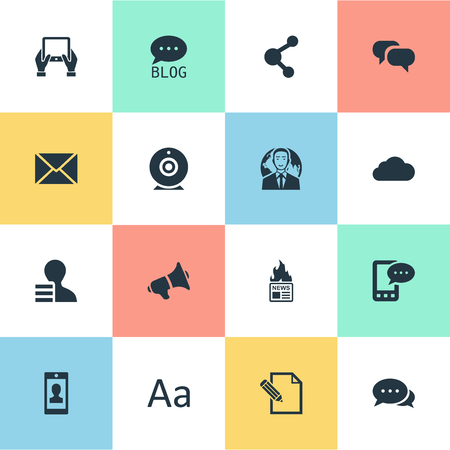 Vector Illustration Set Of Simple User Icons. Elements Post, International Businessman, Gain And Other Synonyms Cloud, Argument And Hot.