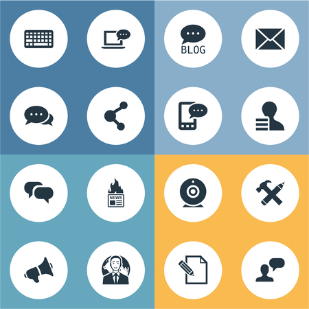 missive: Vector Illustration Set Of Simple Newspaper Icons. Elements Site, International Businessman, E-Letter And Other Synonyms Gain, Repair And Camera.
