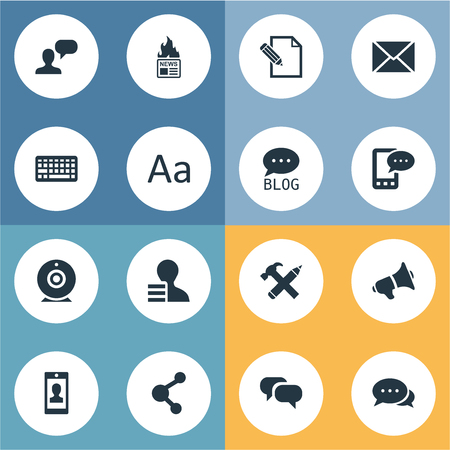 Vector Illustration Set Of Simple User Icons. Elements Profile, Loudspeaker, Site And Other Synonyms Pencil, E-Letter And Speech. Illustration