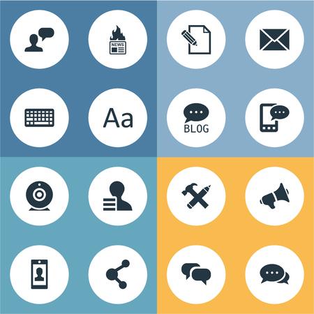 Vectorillustratiereeks Eenvoudige Gebruikerspictogrammen. Elements Profile, Loudspeaker, Site And Other Synoniemen Pencil, E-Letter And Speech.