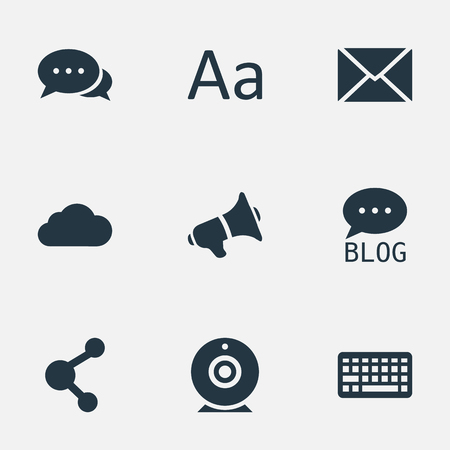 Vector Illustration Set Of Simple User Icons. Elements Cedilla, Broadcast, Post And Other Synonyms Loudspeaker, Typography And Camera.