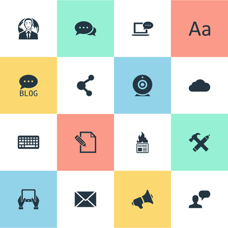 Vector Illustration Set Of Simple Blogging Icons. Elements Cedilla, Loudspeaker, Broadcast And Other Synonyms Overcast, Laptop And Argument.