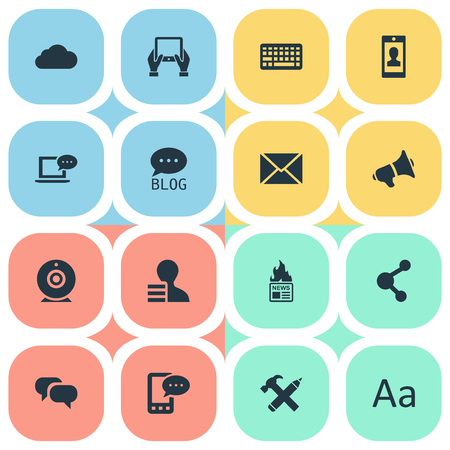 Vector Illustration Set Of Simple Newspaper Icons. Elements Keypad, Gain, Site And Other Synonyms Gain, Relation And Share. Ilustrace