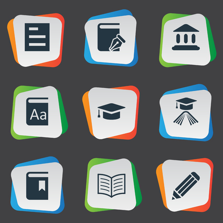 Vector Illustration Set Of Simple Knowledge Icons. Elements Library, Academic Cap, Pen And Other Synonyms Catalog, Write And Graduation.