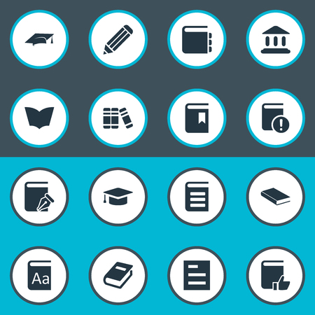 Vector Illustration Set Of Simple Education Icons. Elements Alphabet, Book Cover, Tasklist And Other Synonyms Note, Recommended And Hat.
