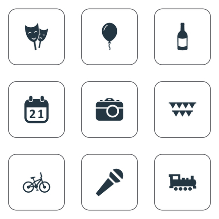 Vector Illustration Set Of Simple Holiday Icons. Elements Speech, Beverage, Camera And Other Synonyms Photo, History And Day.