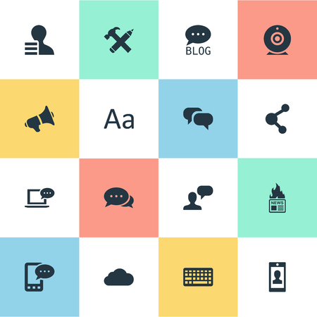 Vector Illustration Set Of Simple Blogging Icons. Elements Argument, Profile, Loudspeaker And Other Synonyms Hot, Forum And Gain.