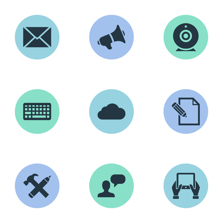 Vector Illustration Set Of Simple Newspaper Icons. Elements Loudspeaker, Notepad, Keypad And Other Synonyms Considering, Broadcast And Missive. Ilustrace