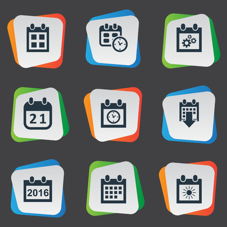 Vector Illustration Set Of Simple Time Icons. Elements Planner, Almanac, Agenda And Other Synonyms Summer, Sun And Deadline.