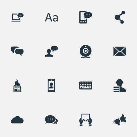 Vector Illustration Set Of Simple Blogging Icons. Elements Man Considering, Share, Gazette And Other Synonyms Loudspeaker, Man And Earnings. Çizim