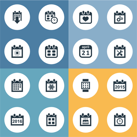 almanac: Vector Illustration Set Of Simple Calendar Icons. Elements Almanac, Date Block, 2016 Calendar And Other Synonyms Wheel, Date And Annual. Illustration