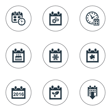 Vector Illustration Set Of Simple Time Icons. Elements Deadline, Date, 2016 Calendar And Other Synonyms Time, Calendar And Birthday. Illustration