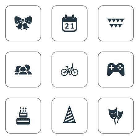Vector illustratie Set van eenvoudige viering iconen. Elements Resonate, Special Day, Domestic and Other Synoniemen Family, People And Resonate.