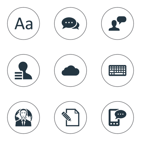 Vector Illustration Set Of Simple Newspaper Icons. Elements Overcast, Man Considering, E-Letter And Other Synonyms International, Laptop And Argument.