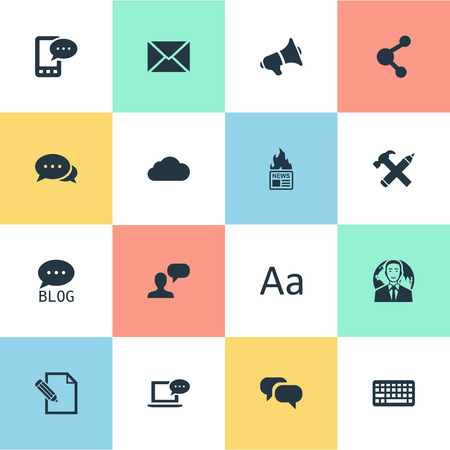 Vector Illustration Set Of Simple Blogging Icons. Elements Cedilla, Site, Laptop And Other Synonyms Discussion, Overcast And Cedilla. Illustration