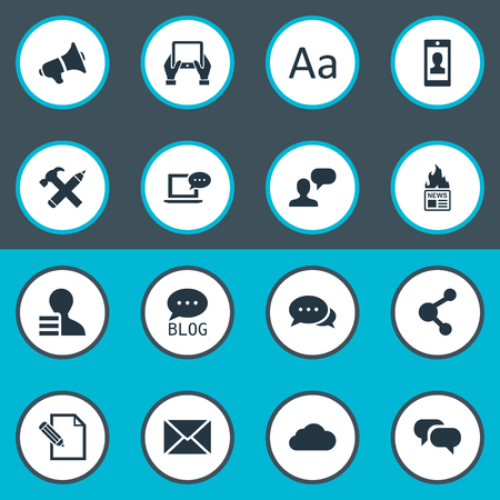 favor: Vector Illustration Set Of Simple Blogging Icons. Elements Site, Laptop, Man Considering And Other Synonyms Hot, Gossip And Man.