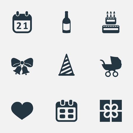 Vector Illustration Set Of Simple Holiday Icons. Elements Confectionery, Soul, Resonate And Other Synonyms Baby, Cap And Sweetmeat. Illustration