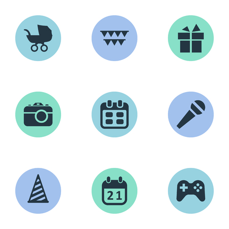 Vector Illustration Set Of Simple Birthday Icons. Elements Speech, Ribbon, Cap And Other Synonyms Stroller, Microphone And Speech. Illustration