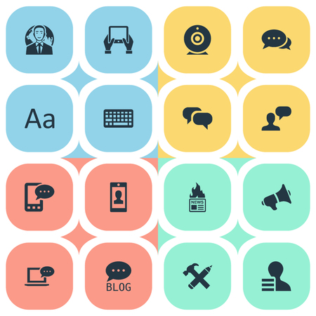 Vector Illustration Set Of Simple Newspaper Icons. Elements Laptop, International Businessman, Gain And Other Synonyms Phone, Smartphone And Profile. Ilustrace