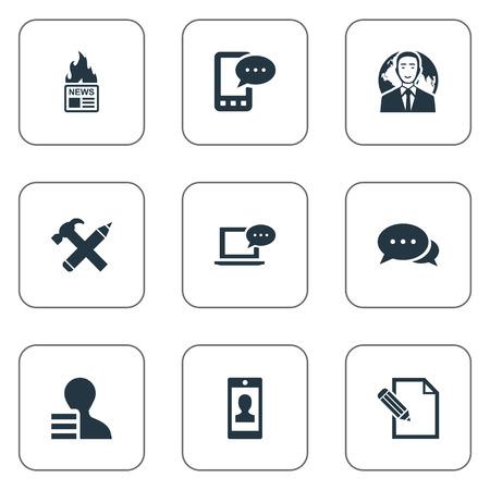 Vector illustratie Set van eenvoudige bloggen pictogrammen. Elementen internationale zakenman, profiel, document en andere synoniemen schrijven, nieuws en pen.
