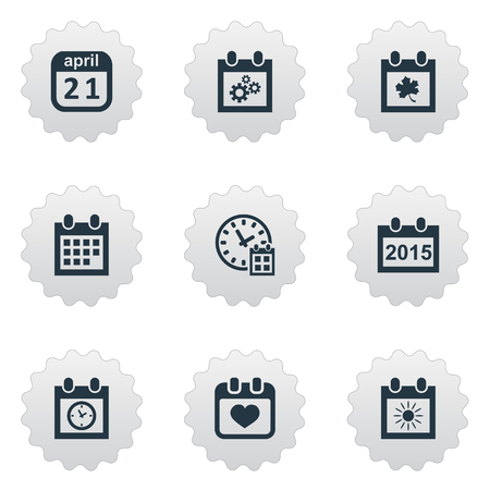 flotation: Vector Illustration Set Of Simple Date Icons. Elements Summer Calendar, Planner, Almanac And Other Synonyms Sun, Almanac And Heart.