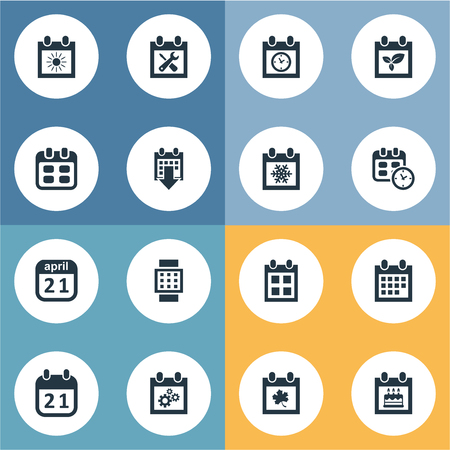 almanac: Vector Illustration Set Of Simple Plan Icons. Elements Intelligent Hour, Date, Snowflake And Other Synonyms Winter, April And Almanac.