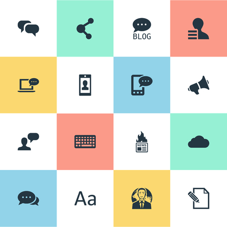 Vector Illustration Set Of Simple User Icons. Elements Site, Share, Argument And Other Synonyms Man, Cloud And Debate.