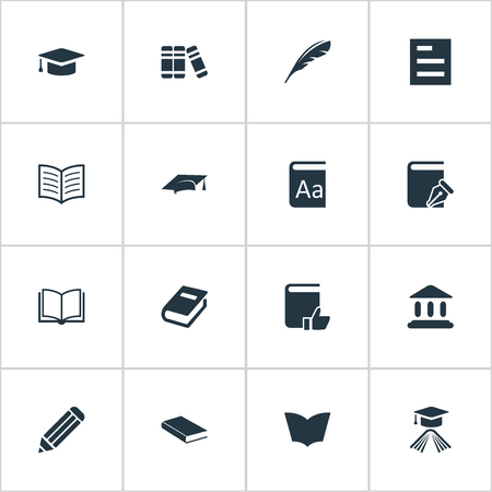 Vector Illustration Set Of Simple Books Icons. Elements Graduation Hat, Notebook, Plume And Other Synonyms Academy, Writing And Literature.