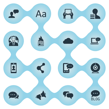 Vector Illustration Set Of Simple Newspaper Icons. Elements Loudspeaker, Cedilla, Site And Other Synonyms Discussion, Relation And Share.