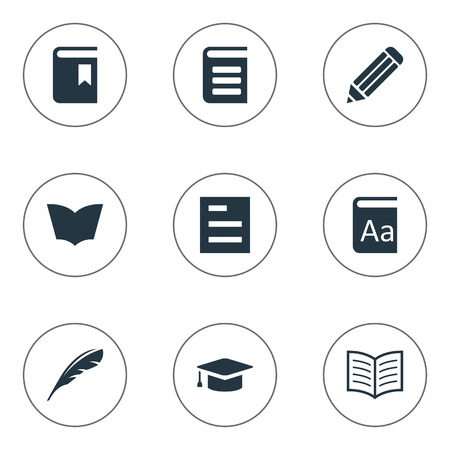 Vector Illustration Set Of Simple Reading Icons. Elements Academic Cap, Book Page, Alphabet And Other Synonyms Pencil, Reading And Quill.
